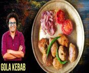 Chicken Gola Kebab | Chicken Gola Kebab Recipe | Gola Chicken Kebabs | Chicken Meat Balls | Chicken Meatballs recipe | Gola Kebab | Chicken Kebab | Gola Kabab Recipe| Chicken Recipe | Chicken Kebab Recipe | Chicken Kabab Recipe | How To Make Gola Kabab | Kebab Recipe | Kabab Recipe | Starter Recipe | Get Curried | Varun Inamdar<br/><br/>Learn how to make Chicken Gola Kebab with our Chef Varun Inamdar.<br/><br/>Introduction<br/>There are various types of Kebabs that are made and eaten in probably every part of the world. But there is a not so common Kebabs called the Gola Kebabs. Gola Kebab is made from Chicken that can be relished as a side dish with a vegetarian meal. This recipe is so versatile that it fits best in the category of finger food (starters) to be served in a party. Gola Kebabs or Chicken meat balls are so easy to make that it hardly takes 30 minutes to serve it. As the meat balls are pan roasted with minimum oil, they don't climb the calorie meter too. Commonly these kebabs are served with fried Onions, Tomatoes and Green Chillies. Make this over the weekend for your family, they're all going to love it.<br/><br/>Chicken Gola Kebab Ingredients - <br/><br/>For the Spicemix<br/>2 tbsp Fried Onions<br/>1-inch Ginger (chopped)<br/>8-10 Garlic Cloves<br/>1 tbsp Poppy Seeds<br/>1/4 tsp Nutmeg (grated)<br/>1 tsp Coriander Seeds<br/>2 tsp Red Chilli Powder<br/>1 tsp Garam Masala Powder<br/>1 Blade Mace<br/>2 tbsp Gram Flour<br/>250 gm Chicken Mince<br/>Salt (as per taste)<br/><br/>Shaping of Kebabs<br/><br/>For frying the Kebabs<br/>2 tbsp Oil<br/>1 Tomato (chopped) (For garnish)<br/>1 Onion (sliced) (For garnish)<br/>2 Green Chillies (For garnish)<br/>Salt (as per taste)